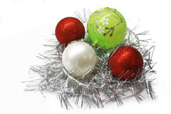 Christmas colorful decorations. Christmas bright colorful decorations on white background royalty free illustration