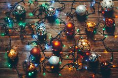 New Year Christmas Colorful Decorations On Wooden Background, Top View Stock Photography