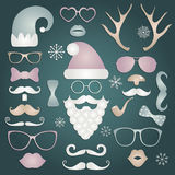 Christmas Colorful Fashion Silhouette Set Hipster Style Stock Photography