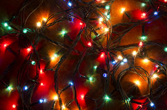Christmas colorful flashing lights Stock Photo