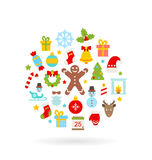 Christmas Colorful Flat Icons Stock Photo