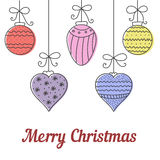 Christmas colorful hand drawn round, cone, heart balls. Card design template. Stock Photos