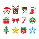 Christmas colorful icons set - Santa, present, tree, Rudolf Royalty Free Stock Images