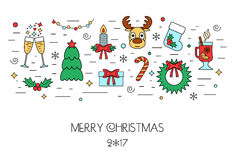 Christmas colorful isolated concept from linear icons. Flat design. Vector Stock Photo