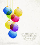 Christmas colorful oil pastel baubles card Royalty Free Stock Images