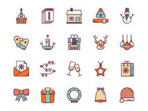 Christmas colorful outline icons. Vector set. Christmas colorful outline icons on a white background. Vector set Royalty Free Stock Image