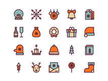 Christmas colorful outline icons. Vector set. Christmas colorful outline icons on a white background. Vector set Stock Photo