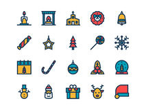 Christmas colorful outline icons. Vector set. Christmas colorful outline icons on a white background. Vector set Stock Photography