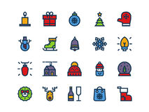 Christmas colorful outline icons. Vector set. Christmas colorful outline icons on a white background. Vector set Stock Images