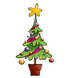 Christmas colorful pine tree decorated with ornaments and a big. Christmas colourful pine tree decorated with ornaments and a big star in a pot Stock Photos