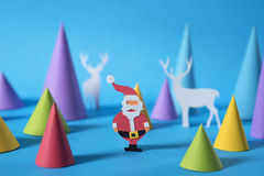 Christmas colorful santa reindeer paper cut card Royalty Free Stock Photos