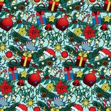 Christmas Colorful Seamless Pattern. Christmas composition seamless pattern. Colorful new year wallpaper on blue background for greeting cards, mock ups Stock Photo
