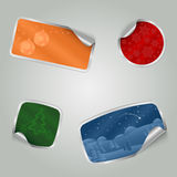 Christmas colorful stickers with texture Stock Photography
