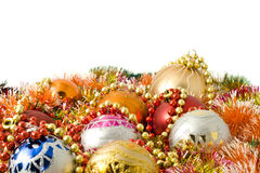Christmas. colorful tinsel and balls Stock Images
