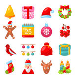 Christmas Colorful Traditional Symbols, Simple Stock Image
