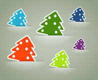 Christmas colorful tree stickers Royalty Free Stock Photo