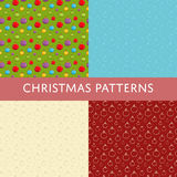 Christmas Colorful Vector Seamless Patterns Set. Christmas seamless patterns. Colorful and line ball toys for Christmas tree decoration vectors on color Royalty Free Stock Photography