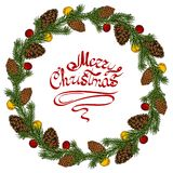 Christmas colorful wreath with holly, pine cones, balls and branches of Christmas tree. New Year`s wreath with lettering royalty free illustration