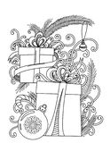 Christmas coloring page. Adult coloring book. Holiday gifts and decore. Hand drawn vector illustration royalty free illustration