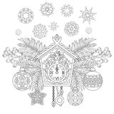 Christmas decorations with vintage wall clock. Christmas coloring page. Holiday hanging decorations and fir tree branches around wall cuckoo clock. Freehand Royalty Free Stock Photography