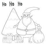 Christmas coloring page with Santa Claus, Christmas tree, gift boxes. Stock Photos