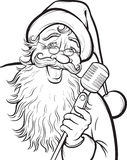 Christmas coloring page with singing Santa Claus Stock Photo