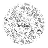 Christmas coloring page. Vector illustration of seamless christmas pattern.Coloring page for children and adult Royalty Free Stock Photos