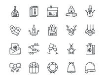 Christmas colorless outline icons. Vector set. Christmas colorless outline icons on a white background. Vector set Stock Image