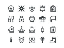 Christmas colorless outline icons. Vector set. Christmas colorless outline icons on a white background. Vector set Royalty Free Stock Image