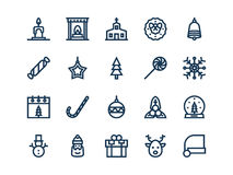 Christmas colorless outline icons. Vector set. Christmas colorless outline icons on a white background. Vector set Stock Photography