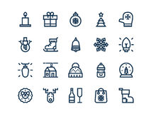 Christmas colorless outline icons. Vector set. Christmas colorless outline icons on a white background. Vector set Stock Photos