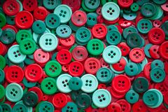 Christmas colour sewing buttons. Toned. Vintage. Royalty Free Stock Photo