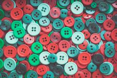 Christmas colour sewing buttons. Toned. Vintage. Stock Images