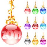 Christmas colourful balloons. Set decorated with colourful balloons isolated on a white background. 2011 Stock Illustration