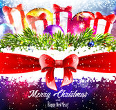 Christmas colourfull background with sparkles, gifts and ribbon Royalty Free Stock Photography