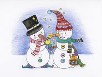 Christmas colouring book. Snowman holiday stock illustration