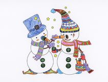 Christmas colouring book snowman holiday Stock Image