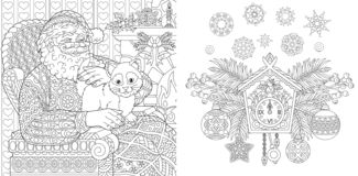 Christmas coloring book. Christmas colouring pages. Santa Claus with a cat in vintage style. New Year background. Xmas ornaments royalty free illustration