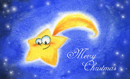 Christmas comet - watercolor Stock Image
