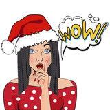 Christmas comic poster with a girl. WOW bubble pop art. Surprised woman with opened mouth  on white background. Christmas comic poster with a girl. Illustration Stock Image