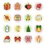 Christmas comics icons set vector illustration