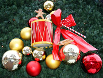 Christmas coming. Christmas traditional red wood and green tree Royalty Free Stock Photo