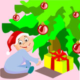 Christmas is Coming. This baby wants to see his Christmas gift vector illustration