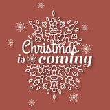 Christmas is coming card with snowflake ornament. Design. Vector illustration Stock Photo