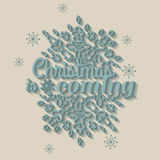 Christmas is coming card with snowflake ornament. Design. Vector illustration Royalty Free Stock Photos