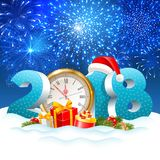 Christmas is coming. The holiday Christmas is coming. Volumetric digits 2018 and golden clock, gifts, spruce branches, in the snow. Fireworks on background Stock Photo