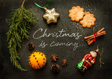 Christmas is coming - poster or postcard design Stock Photo
