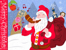 Christmas is coming. Santa Claus is blowing in his magic horn, announcing that Christmas is coming. And Gifts are coming from the horn, along with the music he royalty free illustration