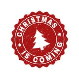 CHRISTMAS IS COMING Scratched Stamp Seal with Fir-Tree stock illustration