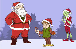 Christmas company. Illustration of three characters, Santa Claus, Elf and Grinch Stock Photo